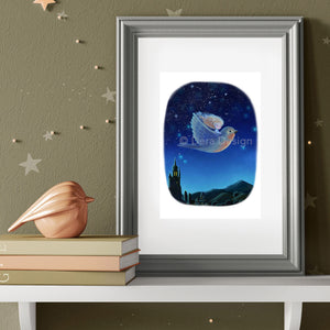 framed fantasy bird print