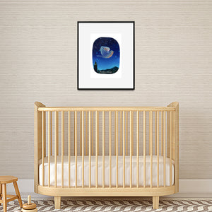 nursery print of girl on bird