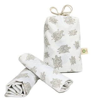 Bag and rolls of Grey Turtles Pillowcase Pair – GOTS-Certified Organic Cotton