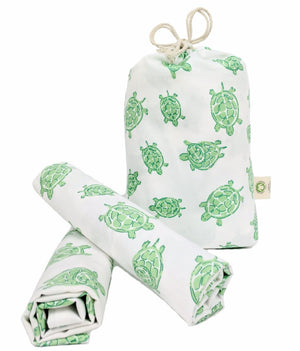Green Turtles Pillowcase Pair – GOTS-Certified Organic Cotton