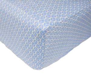 Blue GeoLeaf Sheet - GOTS Certified Organic Cotton