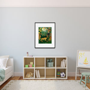 Rainforest print in child's room