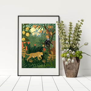 Amazon jungle print with leopard. Archival paper and inks.