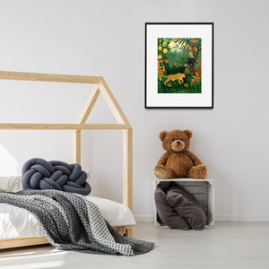 Amazon jungle print with leopard in child's room.