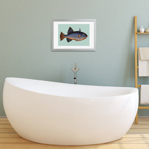 framed fish bathroom wall art