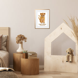 baby lion wall art in playroom