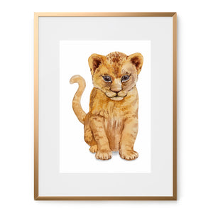 watercolor lion cub art print