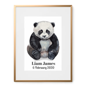 baby panda watercolor art print with name