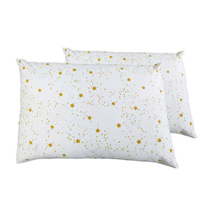 2 Toddler or Travel Pillowcases, GOTS-Certified Organic Cotton – Stars with Gray dots