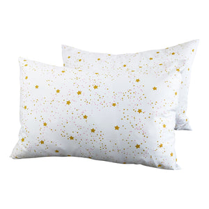2 Toddler or Travel Pillowcases, GOTS-Certified Organic Cotton – Stars with Rose dots