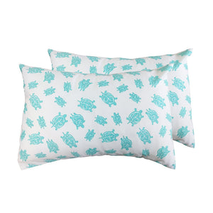 2 Toddler or Travel Pillowcases, GOTS-Certified Organic Cotton – Turtle Aqua