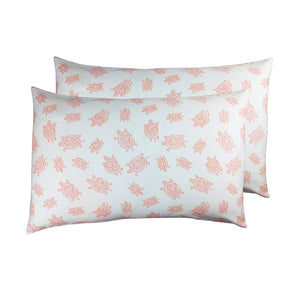 2 Toddler or Travel Pillowcases, GOTS-Certified Organic Cotton – Turtle Pink
