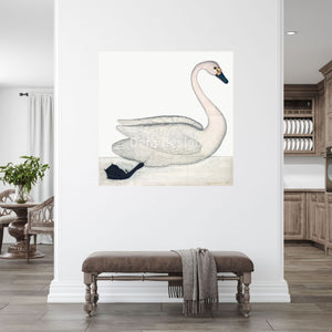 Oversized Olof Rudbeck swan on white wall