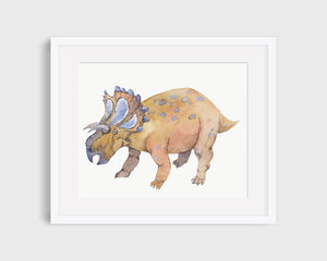 Matted Dinosaur Watercolor Art Print – Yehuecauhceratops