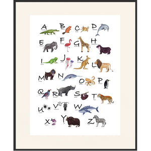 Animal Alphabet Poster on Archival Fine Art Paper or Canvas