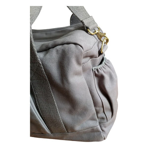 Organic Canvas Diaper Bag Baby Beluga Gray corner