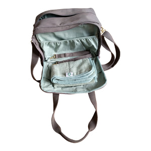 Organic Canvas Diaper Bag Baby Beluga Gray side open