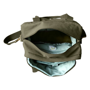 Organic Canvas Diaper Bag Olive from top open