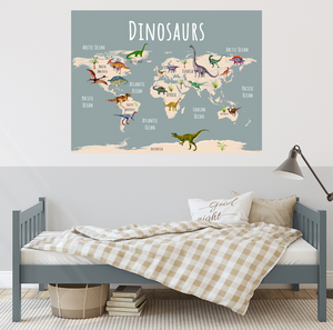 dinosaur world map in child's room