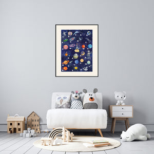 Space Alphabet Poster on Archival Fine Art Paper or Canvas