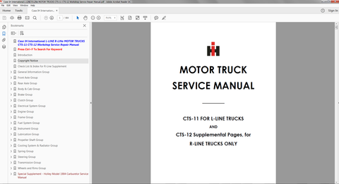 Case IH International L-LINE R-LINE MOTOR TRUCKS CTS-11 CTS-12 Service Manual