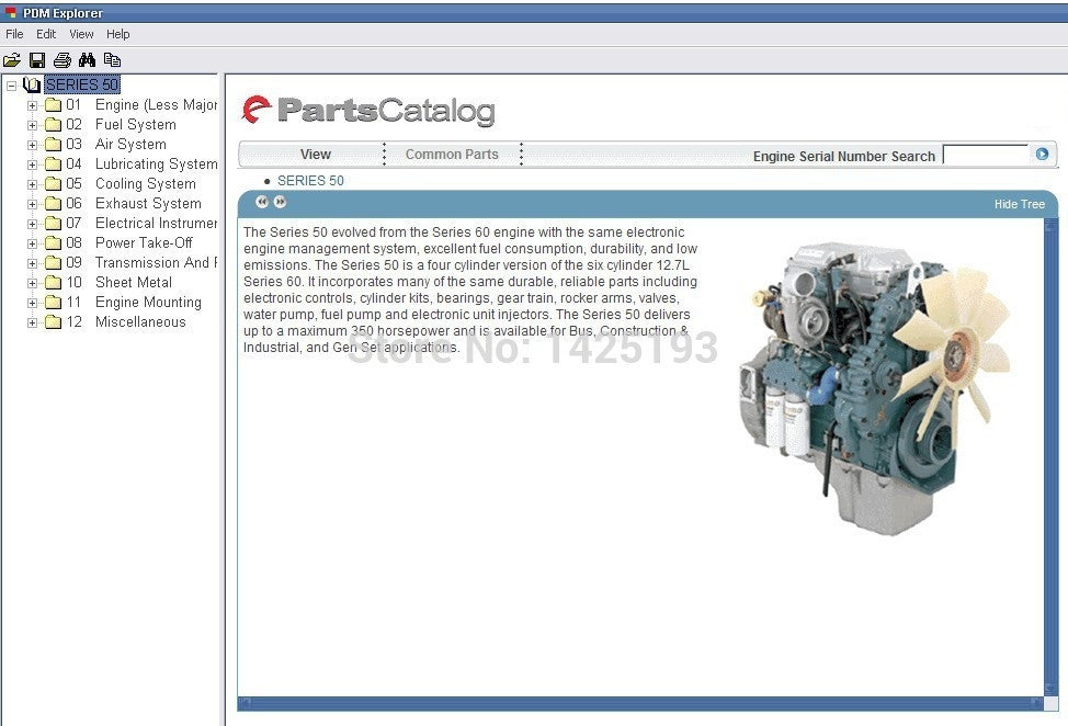Detroit Diesel Engine Series 8 2L, 50, 55, 60, 2000, 4000 Parts Manual EPC  Software All Models & S\n Up To 2011