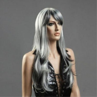 long straight hair silver gray women's hair sets Sex Doll Wig #25