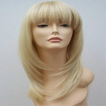 long straight blonde with bangs Sex Doll Wig #30