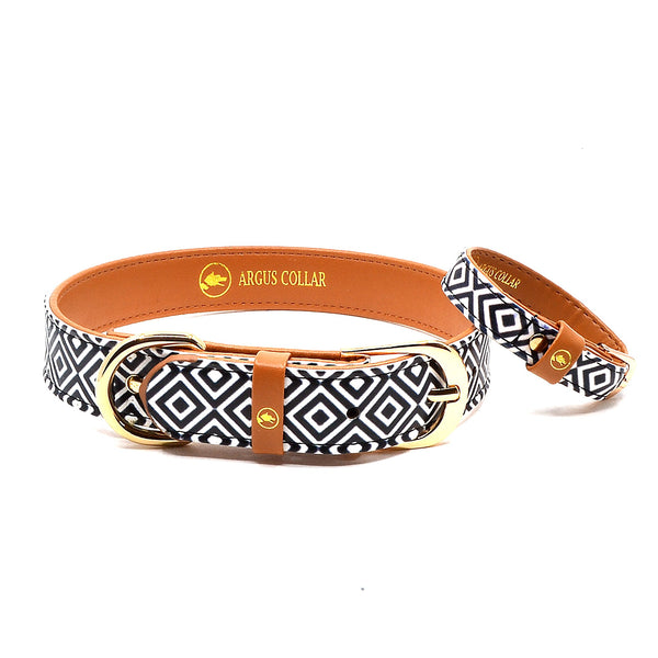 "The ""BW Squary"" Dog Collar - ArgusCollar"