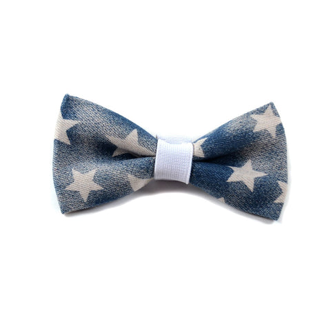 "The ""Denim Stars"" Dog Bow Tie - ArgusCollar"