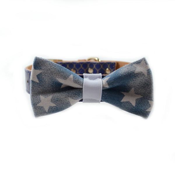 "The ""Denim Stars"" Dog Bow Tie"