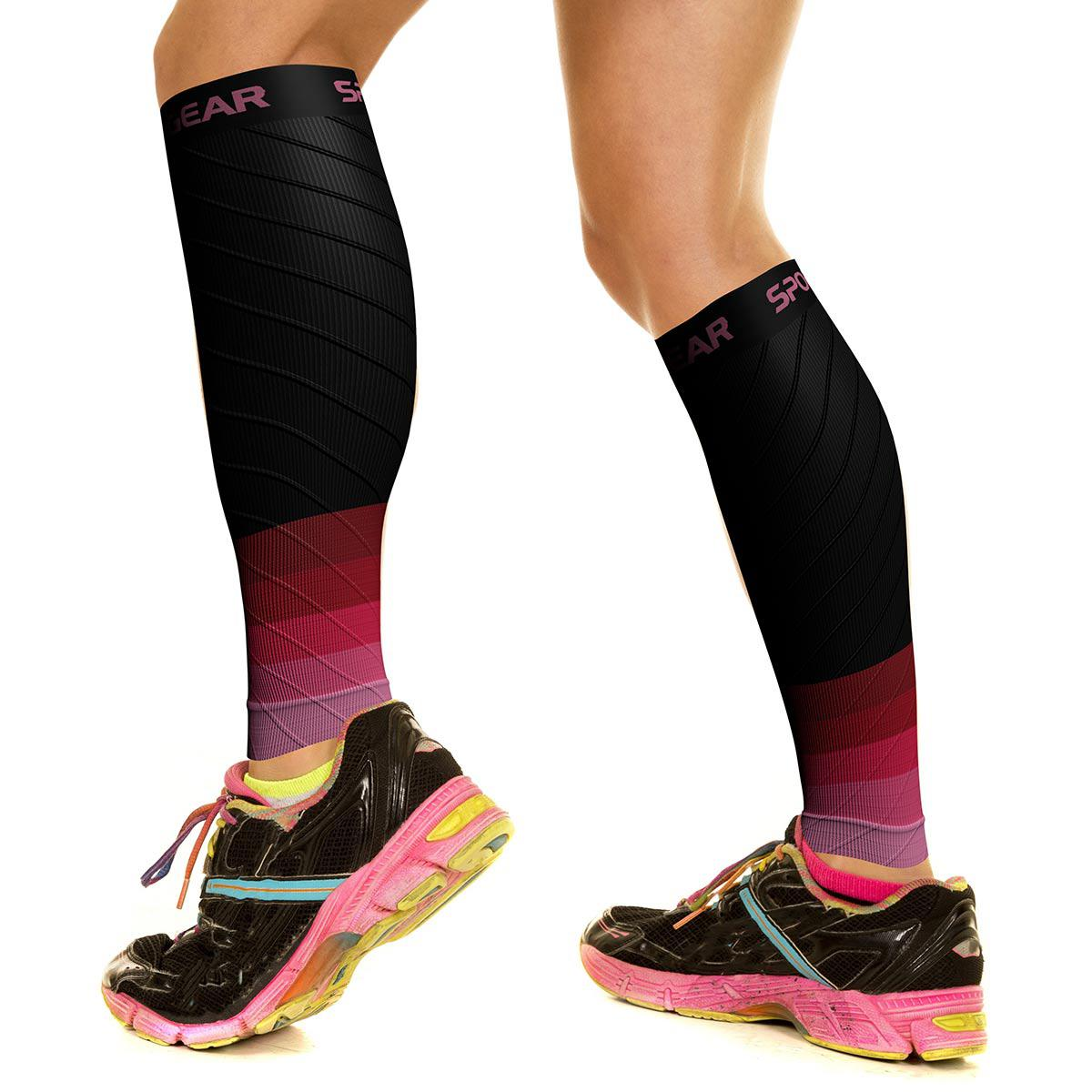 Calf Sleeves - Black & Pink (1 Pair)-Physix Gear Sport