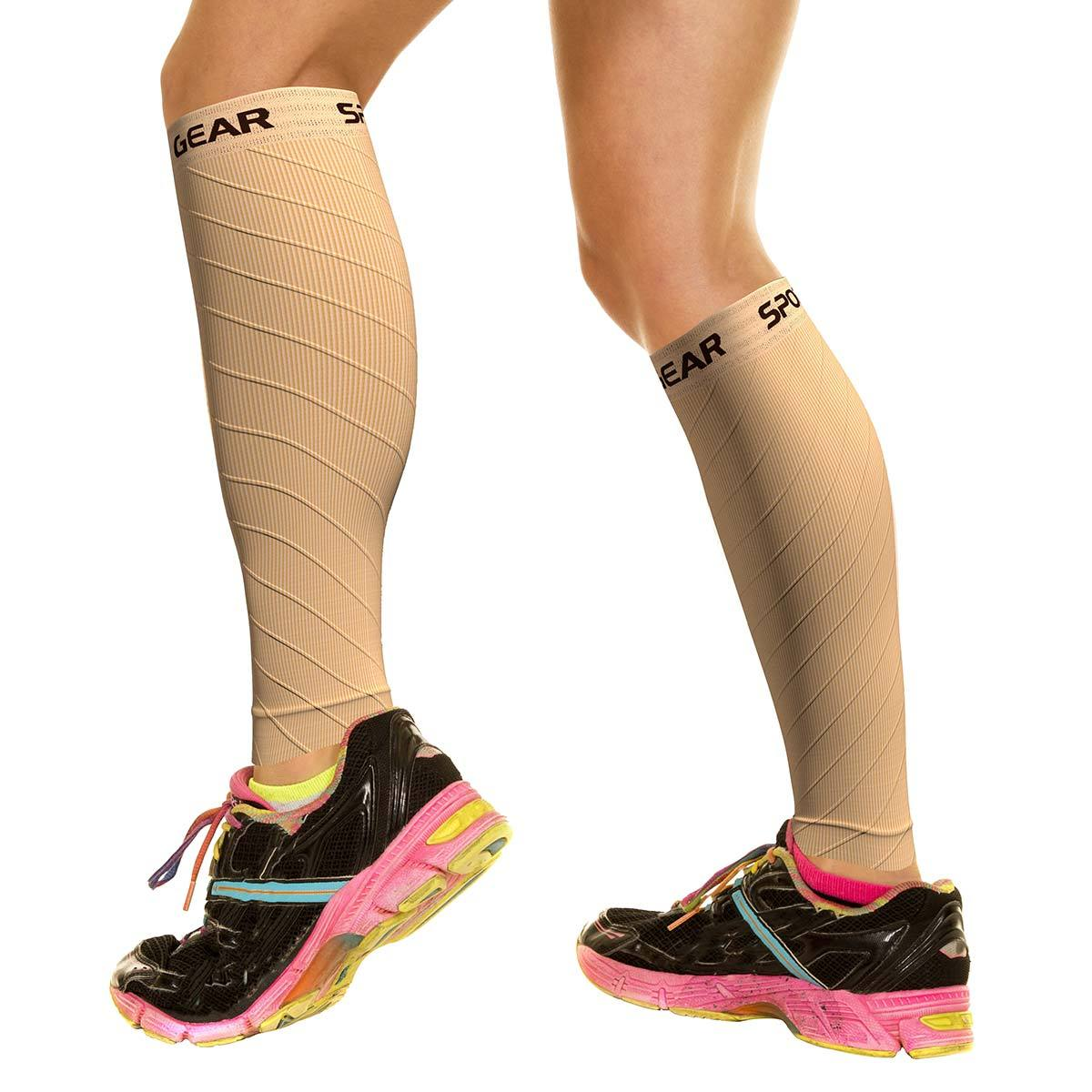 Calf Sleeves - Nude Beige (1 Pair)-Physix Gear Sport