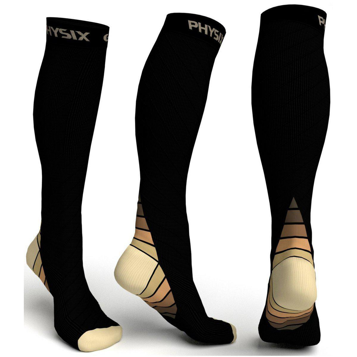 Compression Socks - Black & Beige-Physix Gear Sport