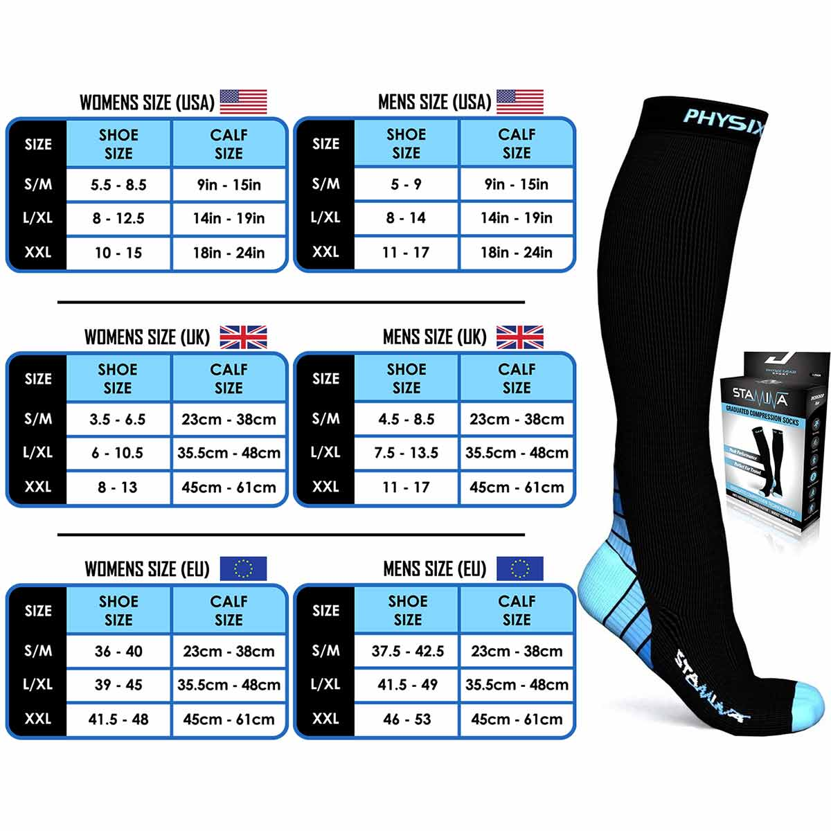 Compression Socks - Black & Blue-Physix Gear Sport