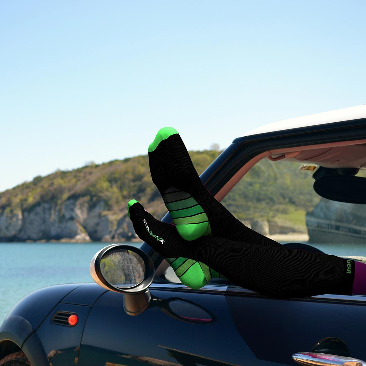 Compression Socks - Black & Green-Physix Gear Sport