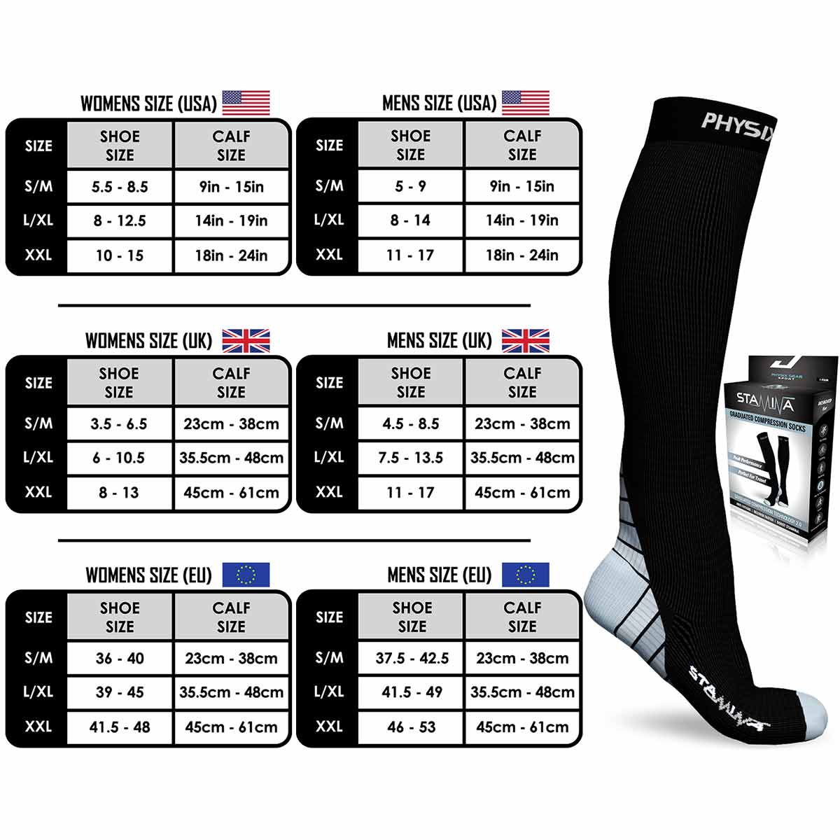 Compression Socks - Black & Grey-Physix Gear Sport