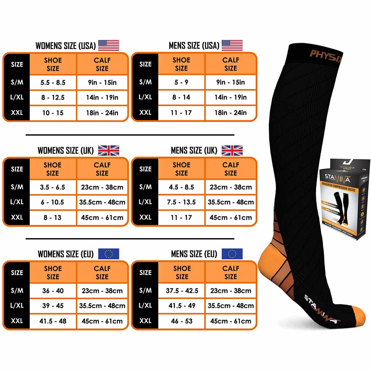 Compression Socks - Black & Orange-Physix Gear Sport