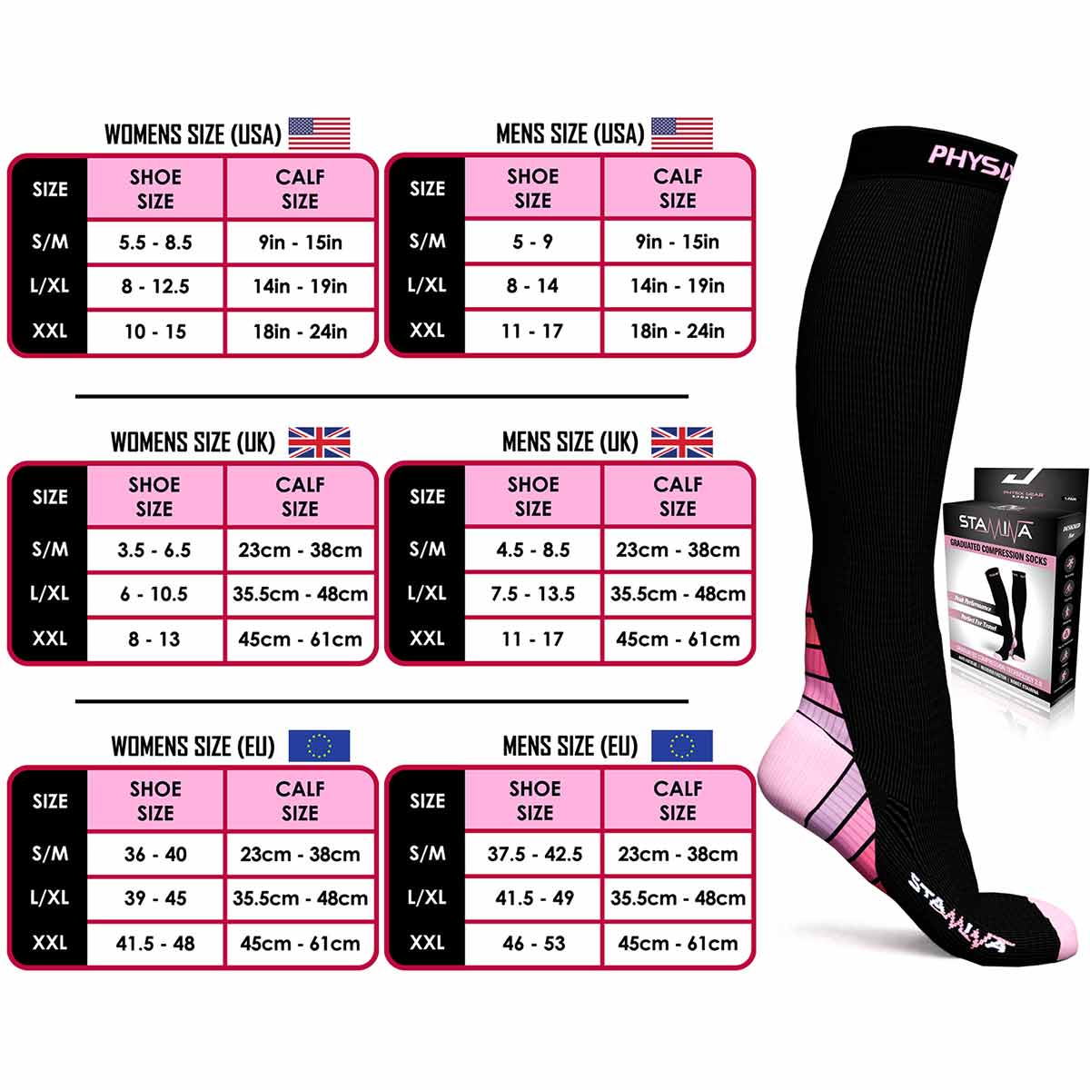 Compression Socks - Black & Pink-Physix Gear Sport