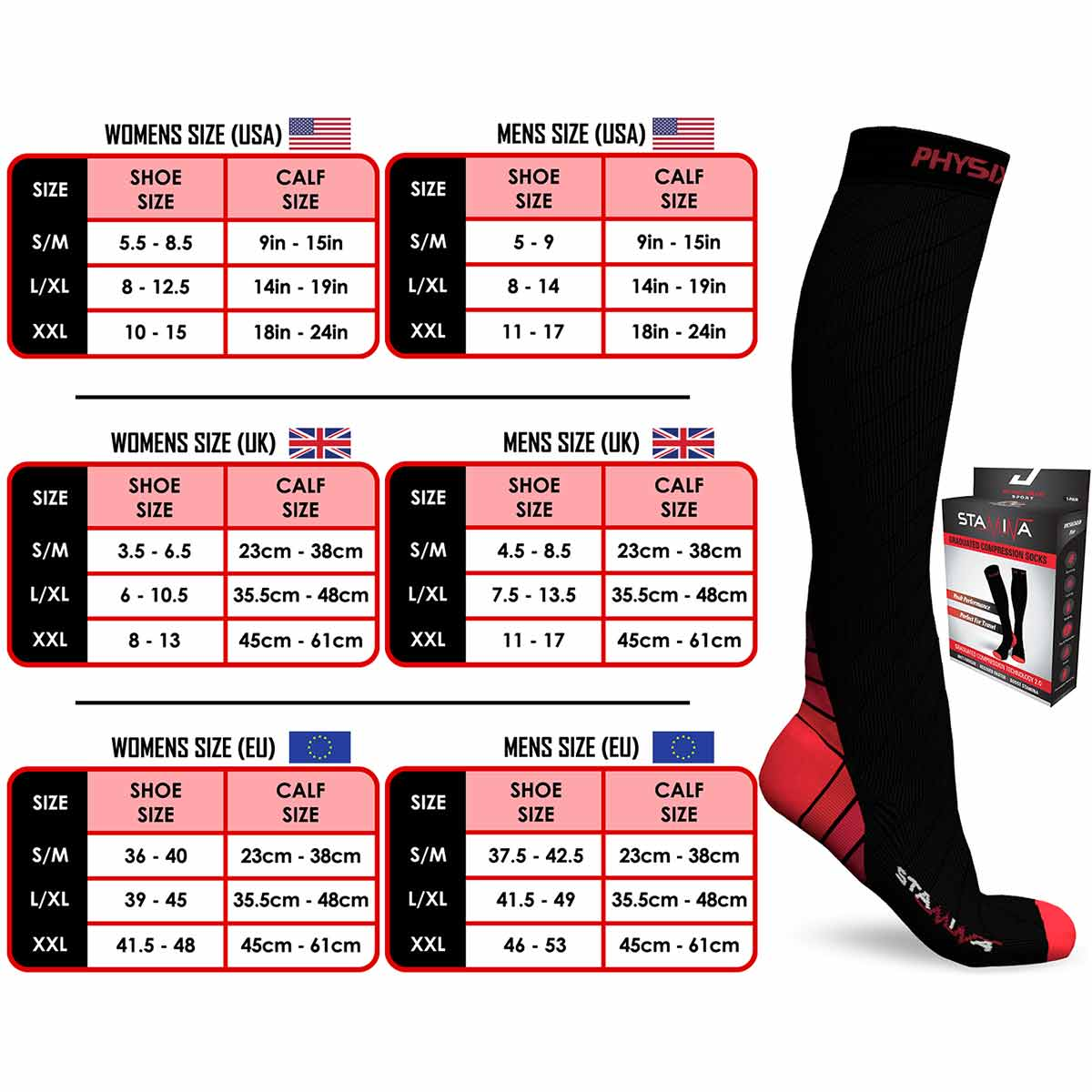 Compression Socks - Black & Red-Physix Gear Sport