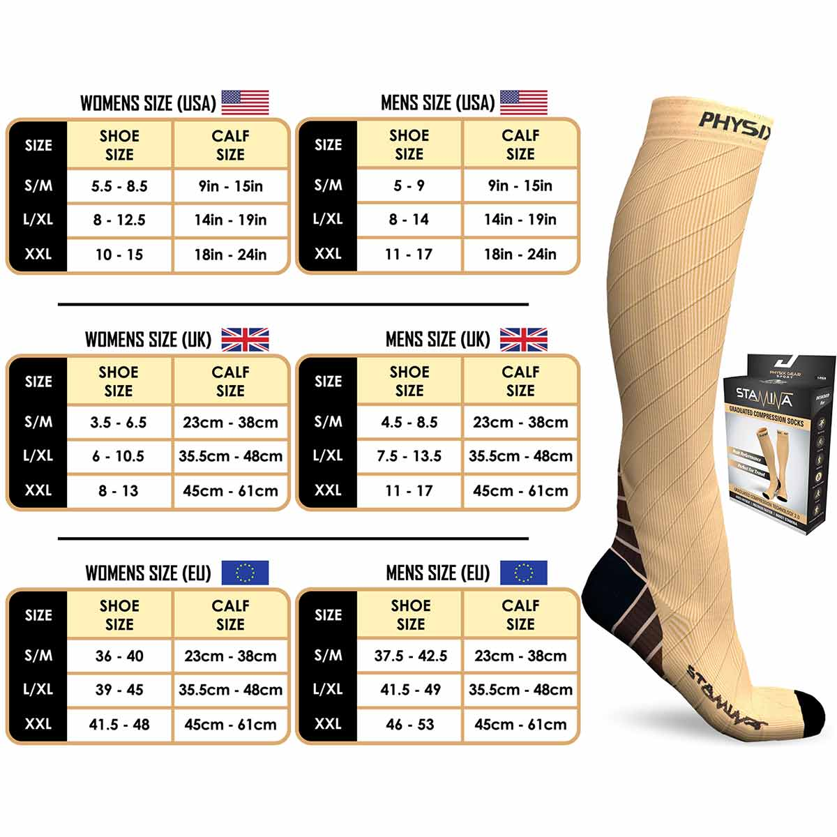 Compression Socks - Nude Beige-Physix Gear Sport