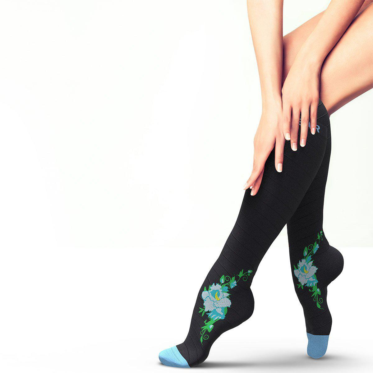 Flower Compression Socks - Black & Blue-Physix Gear Sport