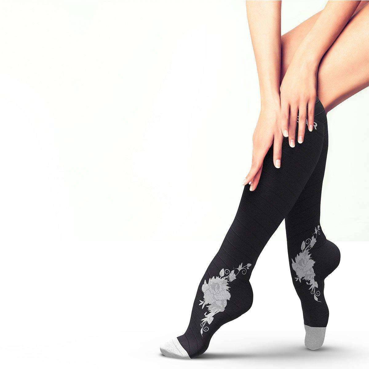 Flower Compression Socks - Black & Grey-Physix Gear Sport