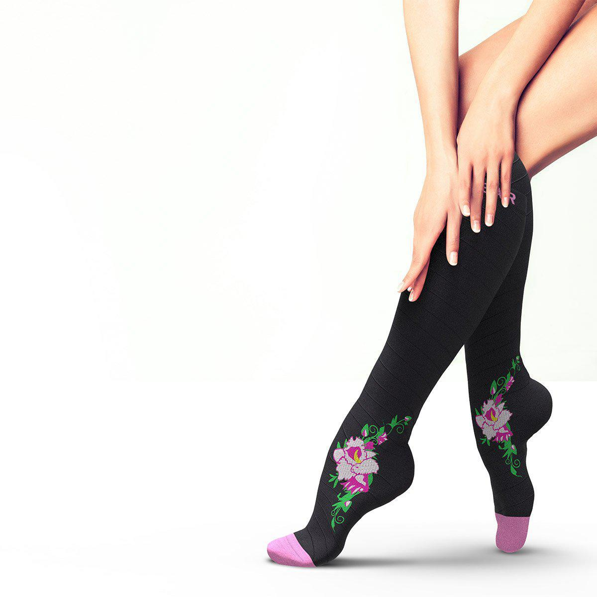Flower Compression Socks - Black & Pink-Physix Gear Sport