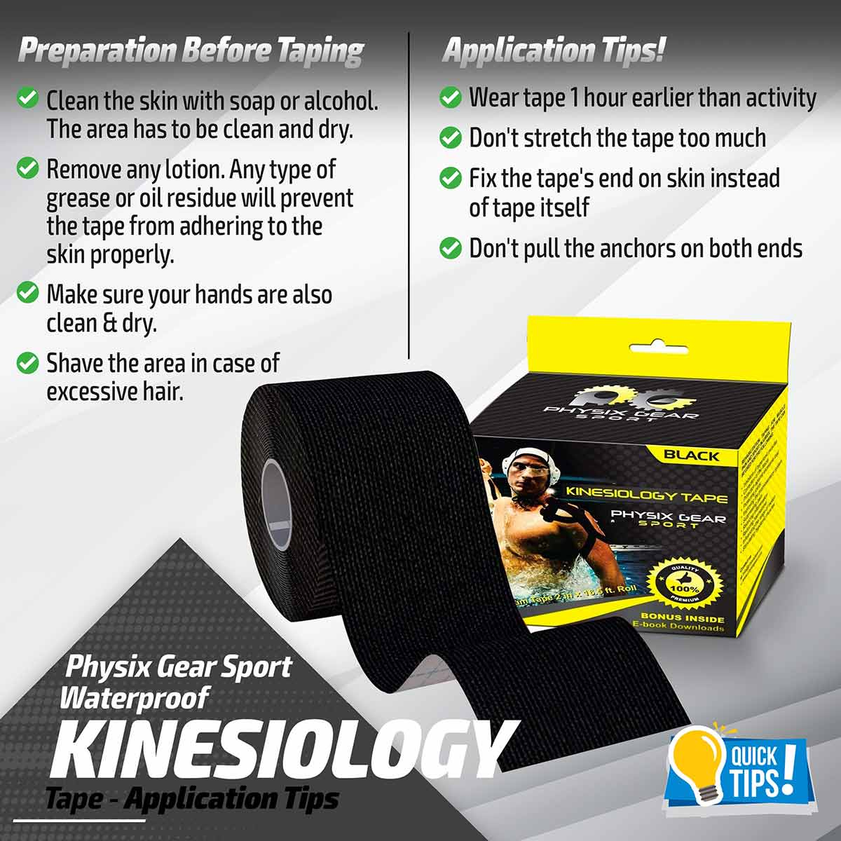 Kinesiology Tape - Black-Physix Gear Sport