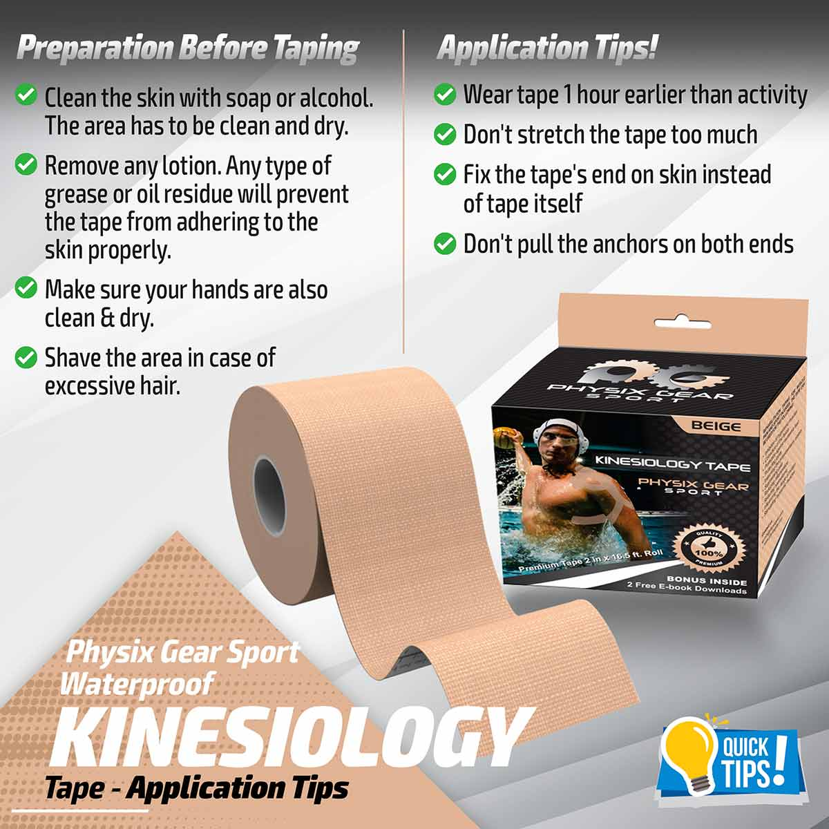Kinesiology Tape - Nude Beige-Physix Gear Sport