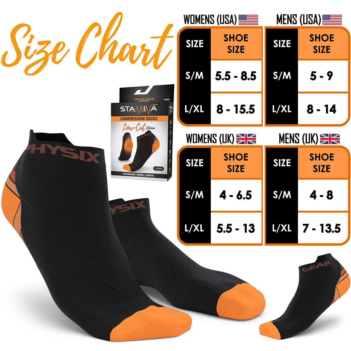 Low Cut Compression Socks - Black & Orange (2 Pairs)-Physix Gear Sport