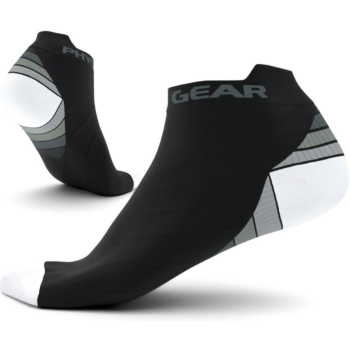 Low Cut Compression Socks - Black & White (2 Pairs)-Physix Gear Sport