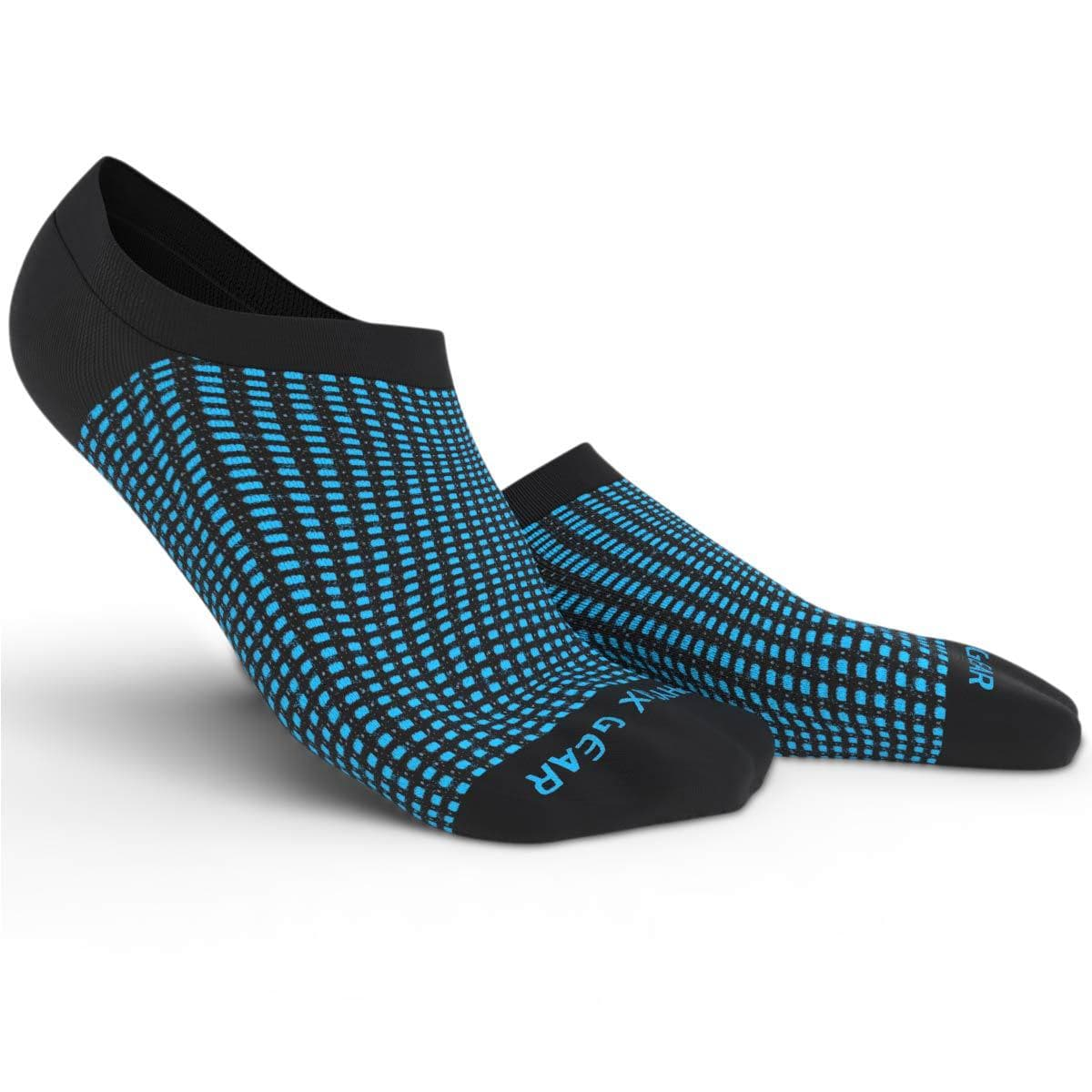 No Show Socks - Black & Blue 3 Pairs (Ankle High)-Physix Gear Sport