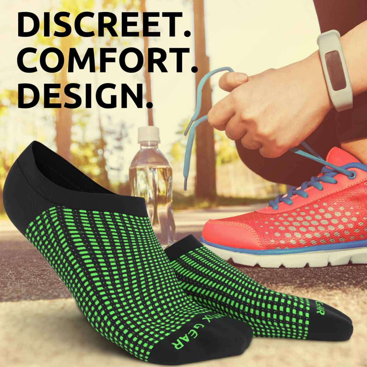No Show Socks - Black & Green 3 Pairs (Ankle High)-Physix Gear Sport
